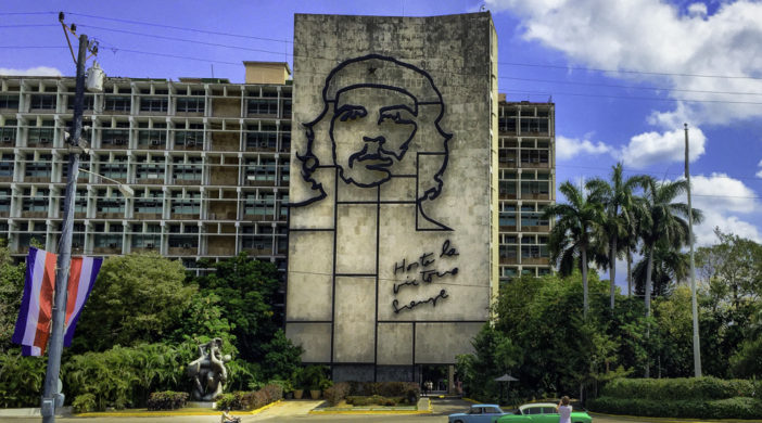Che Guevara Mural, Revolution Square, Havana, Cuba, fifties cars