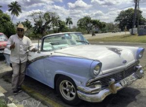 Fifties Vintage Ford Convertible. Revolutions Square, Havana, Cuba.