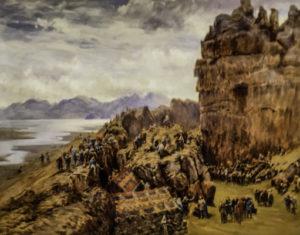 "Icelandic Viking Democracy,1897 Painting by Collingwood ""Thingbrekka at Thingvellir"" (British Museum)"