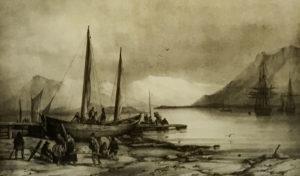 Icelandic Viking Democracy, Reykjavik, Iceland, Old harbor, Painting, Reykjavik Maritime Museum