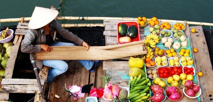 Vietnam floating maket, Mekong River, Vietnam