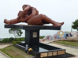 Peru coast, Lima, Peru, Love sculpture, El Beso. Love Park