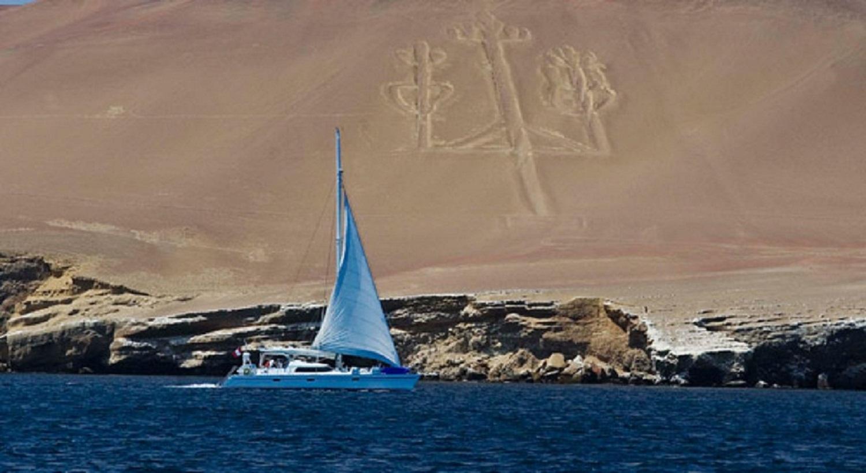 Nazca lines, Peru coast, geoglyph, Bahía Paracas, Peru, El Candelabro