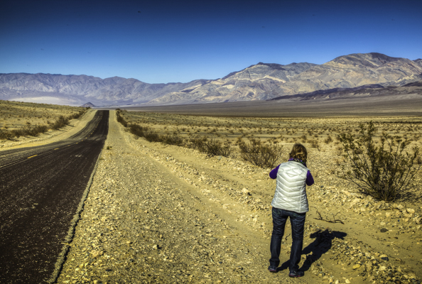 The long lonely and empty Hwy-178 in the Panamint Valley on the road to Death Valley National Park