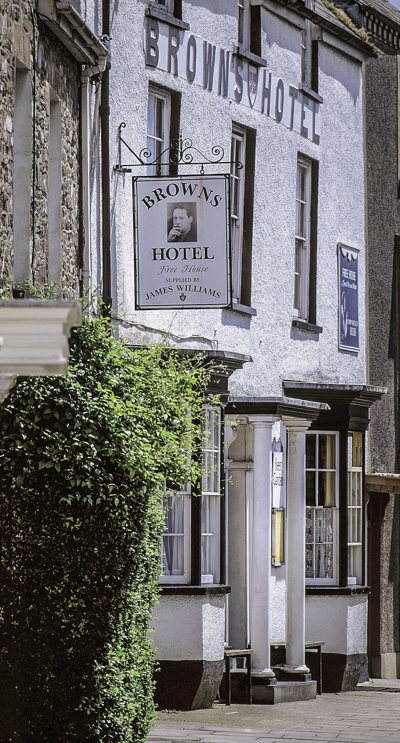 Browns Hotel in Laugharne, Wales often frequented by poet Dylan Thomas. south towns and villages