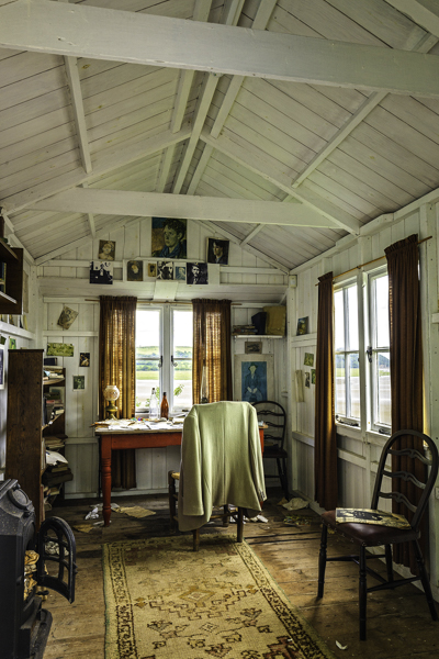 Interior of Dylan Thomas' writing shed at his boathouse in Laugharne, Carmarthenshire, Wales, one of south Wales historic houses and sites.