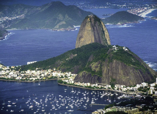 Views of Rio de Janeiro and Sugarloaf Mountain from the cable car