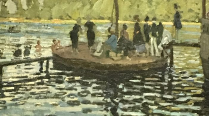 """Claude Monet painting """"La Grenouillère"""", a boating and bathing resort on the Seine, not far from Paris. Monet quote: """"I do have a dream, a painting, the baths of La Grenouillère, for which I have made some bad sketches, but it is only a dream. 1869 Medium: Oil on canvas Now on exhibit """"The Monet Early Days"""" at the Legion of Honor, San Francisco, CA"""