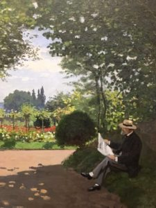 Adolphe Monet Reading in a Gardenfrom the Monet Early Days exhibit at the Legion of Honor, San Francisco, CA
