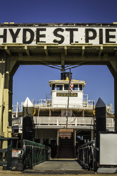 Northwestern Pacific Steam Railroad Ferry Eureka - all aboard for Eureka via Sausalito and Willits (Now in the historic collection of the San Francisco Maritime National Historic Park), San Francisco Hyde Street Pier
