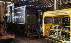 Roots of Motive Power completed restoration projects include railcars, steam locomotives and track maintenance cars, Willits, California