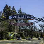Willits The Heart of Mendocino County California; sign given to the city by Reno, NV