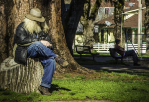 Willits, Whistlestop Weekend, A sit in the sun at the local park in Willits, California