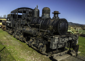 Shay-type steam locomotive for steep logging railroads deep in the Pacific coast forests of northern California