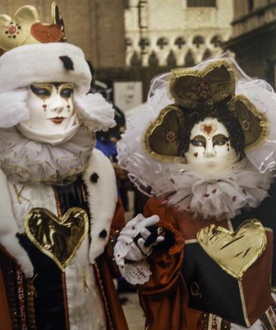 Carnevale di Venezia masqueraders in the bitter cold of a January carnival in Venice, Italy