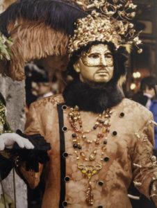 Carnevale di Venezia reveler in the bitter cold of a January Carnival in Venice, Venice, Italy