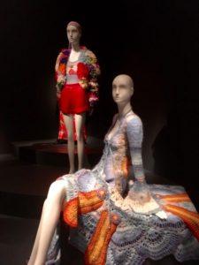 1967 crochet dress and mini skirt, Summer of Love Exhibit, De Young Museum, Golden Gate Park, San Francisco, CA
