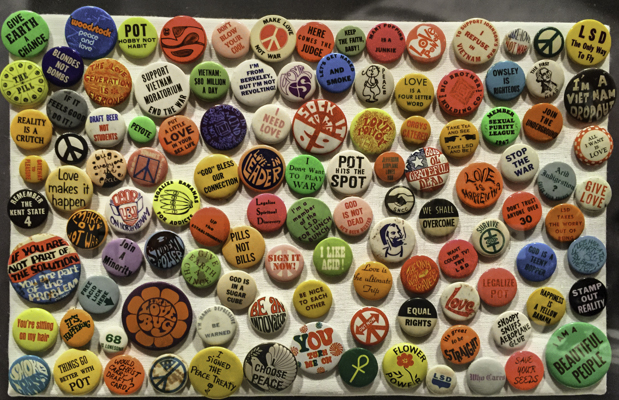 '67 Summer of Love Buttons exhibit at the DeYoung, San Francisco, CA