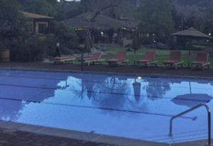 Inviting pool at sunset in Rancho La Puerta, Tecate, Baja California, Mexico