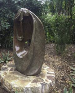 Ancient-ones reminiscence in a sculpture by resident artist Jose Ignacio, Rancho La Puerta, Tecate, Baja California, Mexico
