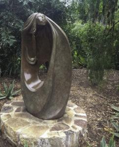 Ancient-ones reminiscence in a sculpture by resident artist Jose Ignacio, Rancho La Puerta, Tecate, Baja California, Mexico