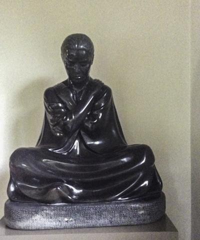 Bronze meditative sculpture by resident artist Jose Ignacio, Rancho La Puerta, Tecate, Baja California, Mexico
