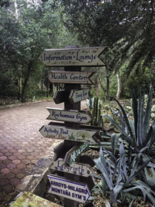 Directional signs to information, health and activities, Rancho La Puerta, Tecate, Baja California, Mexico