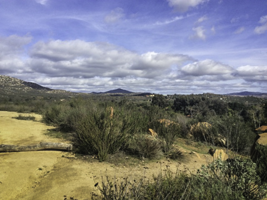 Hiker's view of the Rancho La Puerta valley in Tecate, Baja California, Mexico