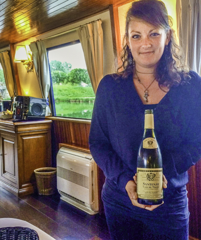 Claire with Chablis, European Waterways barge La Belle Epoque, Burgundy, France