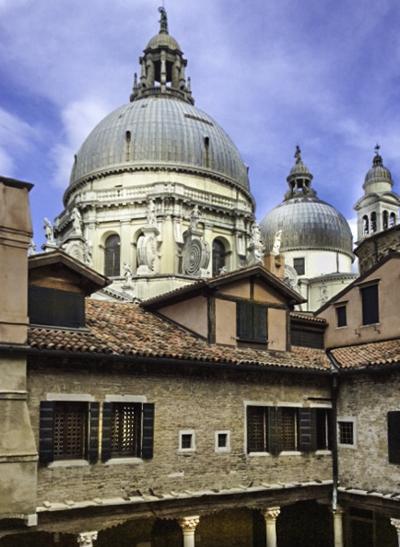 Venice magical Santa Maria della Salute dome as seen from a vaporetto, Venice, Italy