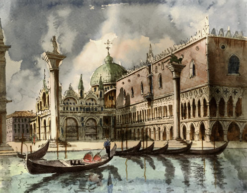 Impressions of Venice, then and now. Venice street art watercolor, Venice magic spell revealed, Venice, Italy