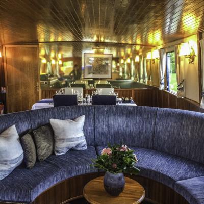 Salon of European Waterways barge La Belle Epoque, Burgundy, France
