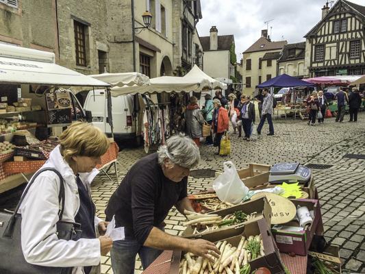 Noyers-sur-Serein market, European Waterways barge cruise, La Belle Epoque, Burgundy, France