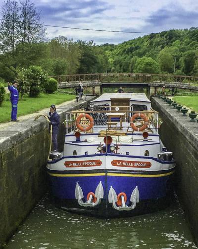 Burgundy Canal Locks, European Waterways barge La Belle Epoque, Burgundy, France