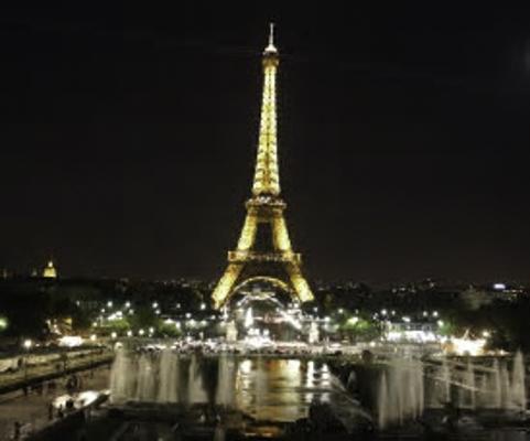 Eiffel Tower down the Seine River, Paris, France