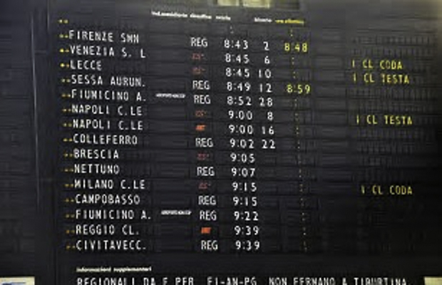 Train station departure board in Italy showing schedules to Naples, Florence, Venice and alluring points in between.