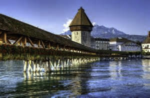 Bridge from the station to the sumptuous Schweizerholf Hotel in Luzern Switzerland