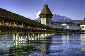 Bridge from the station to the sumptuous Schweizerholf Hotel in Luzern Switzerland