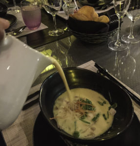 Indonesian-inspired seafood soup at Tamarind restaurant on Holland America Lines ms Nieuw Amsterdam during a Christmas cruise of the Bahamas