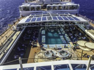 Poolside recumbant recreation on Holland America Lines ms Nieuw Amsterdam