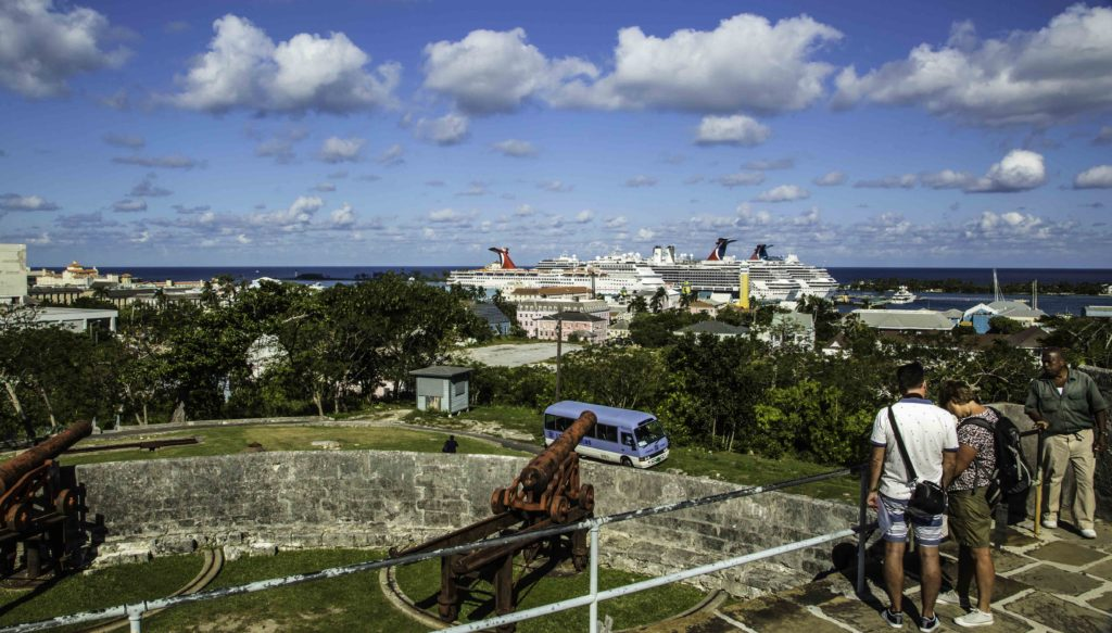 The view of the Nassau cruise port from Fort Fincastle, Nassau, Bahamas on a shore excursion from MS Nieuw Amsterdam of the Holland America Line