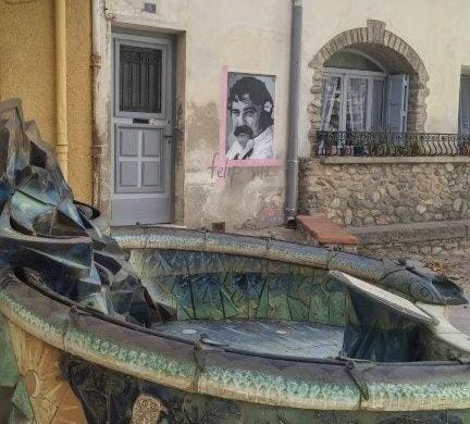 Céret, Céret, France, town square and plaza, murals on walls painted by local artist, FAS.
