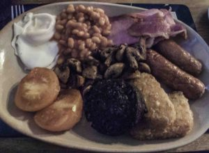 A hearty good ol' English breakfast, The Navigation Inn, Buxworth, Cheshire Ring Canals, Cheshire, UK