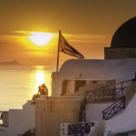 """Greek Wines from Sonoma, Sunset on Santorini, Georgós Nu Greek wine labeled """"Santorini"""" captures the spirit and character of wines from Santorini, Greece"""