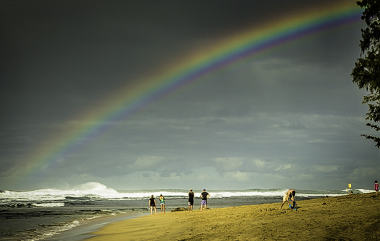 Chasing rainbows at the beach, photo: John Sundsmo, Kauai, Hawaii