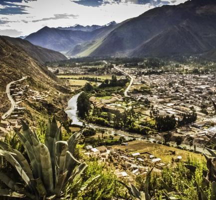Urubamba viewed from the high plateau road to Chinchero and Cusco, Peru