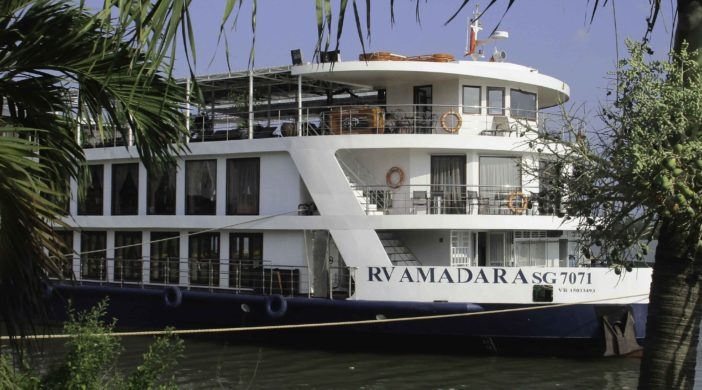 Mekong River cruise, RV Amadara moored on Mekong River, Cruising the Mekong River with Ama Waterways, Vietnam and Cambodia cruise