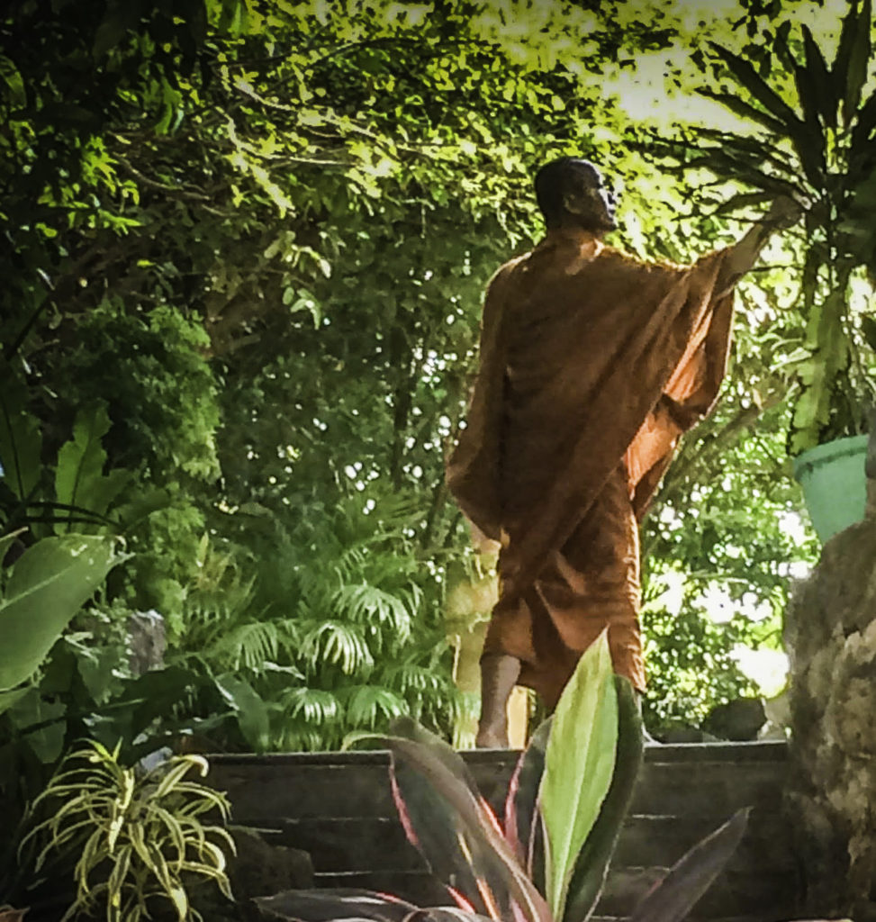 Mekong River cruise. Cambodian buddhist monk viewed during a shore visit on a Mekong River cruise aboard AmaWaterways new ship the Amadara cruising from Vietnam into Cambodia
