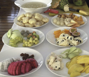 Mekong River cruise, Sumptuous fruit buffet prepared by Chef Sopheap, AmaWaterways cruise on the Mekong River aboard the new Amadara from Vietnam into Cambodia