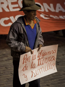 """For defense of the land and seeds"", protest against Monsanto transgenic plants in Cusco, Peru"